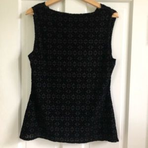Laundry by Shelli Segal Black Velvet Tank Jacquard